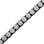 Hematite beads cube Anthracite Grey