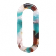 Resin pendants links oval 38x17mm Turquoise-Brown