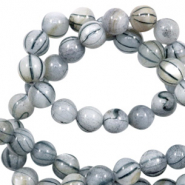 Shell beads 6mm round black line Light Grey