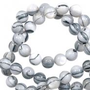 Shell beads 8mm round black line Off White