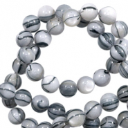 Shell beads 6mm round black line Off White