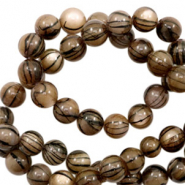 Shell beads 6mm round black line Brown