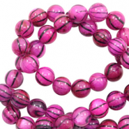 Shell beads 6mm round black line Purple Pink