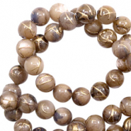 Shell beads 6mm round gold line Brown