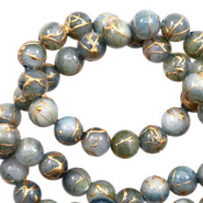 Shell beads 8mm round gold line Chinois Green