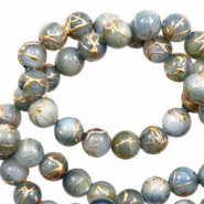Shell beads 6mm round gold line Chinois Green