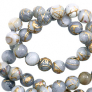 Shell beads 6mm round gold line Light Grey