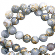 Shell beads 4mm round gold line Light Grey