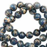 Shell beads 6mm round gold line Dark Blue