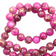 Shell beads 8mm round gold line Purple Pink