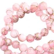 Shell beads 6mm round gold line Light Pink