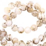 Shell beads 6mm round gold line Beige White