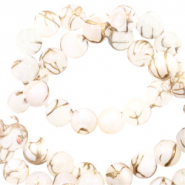 Shell beads 4mm round gold line Beige White