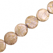 Shell beads 20mm round flat gold line Taupe Brown