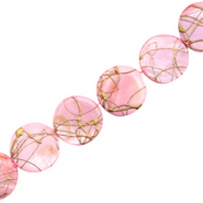 Shell beads 20mm round flat gold line Light Pink