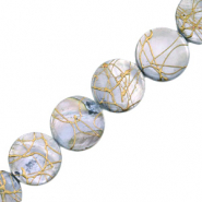 Shell beads 20mm round flat gold line Light Grey