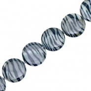 Shell beads 20mm round flat zebra print Grey