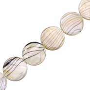 Shell beads 20mm round flat black line Beige White