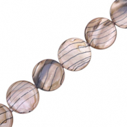 Shell beads 20mm round flat black line Taupe Brown