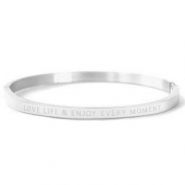 "Stainless steel bracelets ""LOVE LIFE AND ENJOY EVERY MOMENT"" Silver"