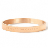 "Stainless steel bracelets ""I LOVE YOU TO THE MOON AND BACK"" Rose Gold"