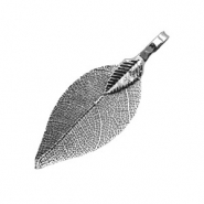 Charm with 1 loop metal leaf Anthracite Black (nickel free)