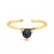 Must-have rings one stone Gold-Dark Blue (nickel free)