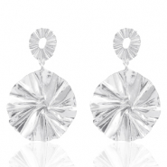 Trendy earrings 44mm round Silver (nickel free)