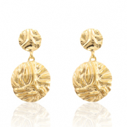 Trendy earrings 26mm round Gold (nickel free)