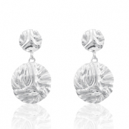 Trendy earrings 26mm round Silver (nickel free)