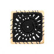 Crochet pendants square Gold-Black