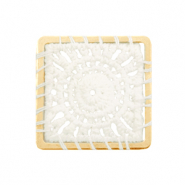 Crochet pendants square Gold-White