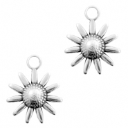 DQ European metal charms flower Antique Silver (nickel free)