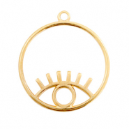 DQ European metal charms eye round 30mm Gold (nickel free)