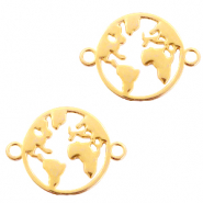 DQ European metal charms connector earth round 20mm Gold (nickel free)