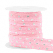 Elastic ribbon heart Vintage Pink-Silver