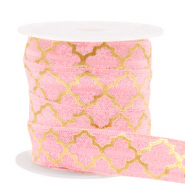 Elastic ribbon Moroccan pattern Vintage Pink-Gold