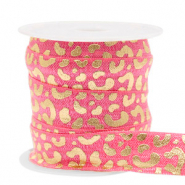 Elastic ribbon leopard Rouge Pink-Gold