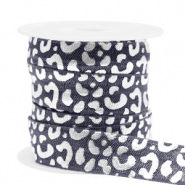 Elastic ribbon leopard Anthracite-Silver