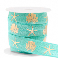 Elastic ribbon shell/sea star Turquoise-Gold