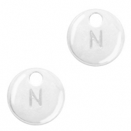 Metal charms initial N Antique Silver (nickel free)