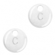 Metal charms initial C Antique Silver (nickel free)
