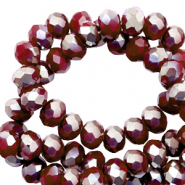 Top faceted beads 4x3mm disc Port Red-Pearl Shine Coating