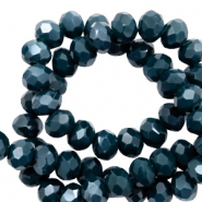Top faceted beads 8x6mm disc Legion Blue-Top Shine coating
