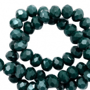 Top faceted beads 3x2mm disc Deep Green-Pearl Shine Coating