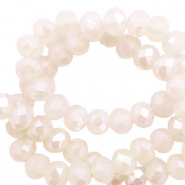 Top faceted beads 8x6mm disc Beige Opal-Pearl Shine Coating