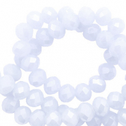 Top faceted beads 8x6mm disc Powder Blue-Pearl Shine Coating