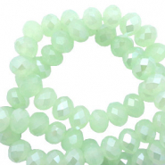 Top faceted beads 4x3mm disc Meadow Turquoise Green Opal-Pearl Shine Coating