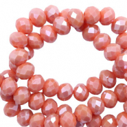 Top faceted beads 6x4mm disc Vintage Coral Red-Pearl Shine Coating