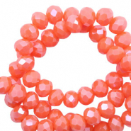 Top faceted beads 8x6mm disc Tigerlily Coral Red-Pearl Shine Coating